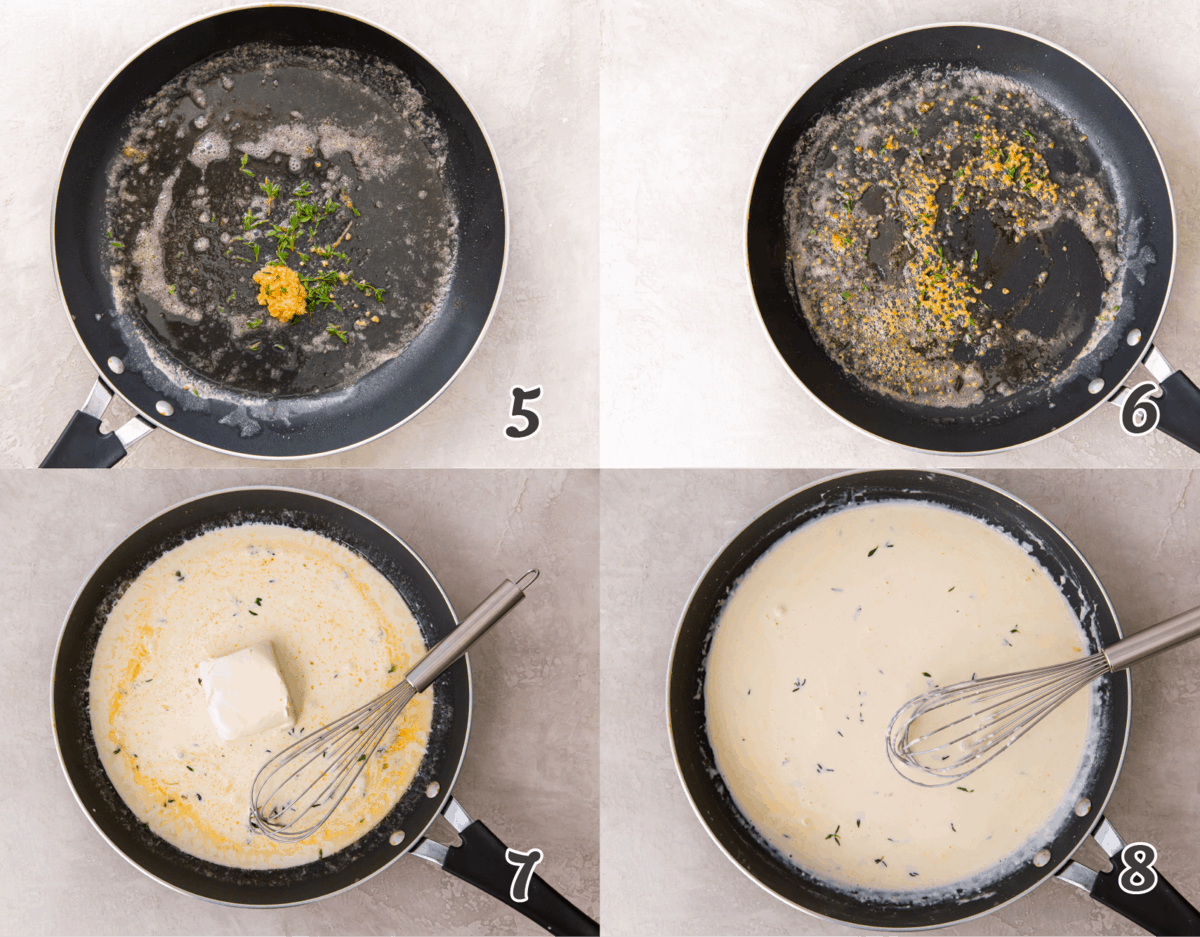 sauteeing butter and herbs and adding cream