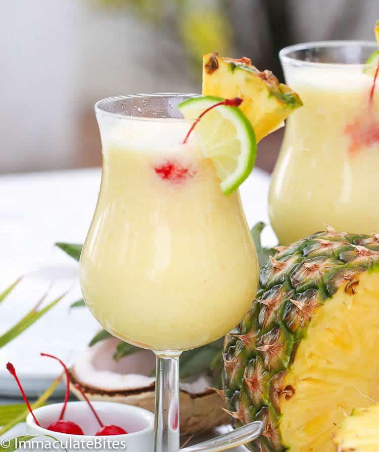 single glass of pina colada cocktail