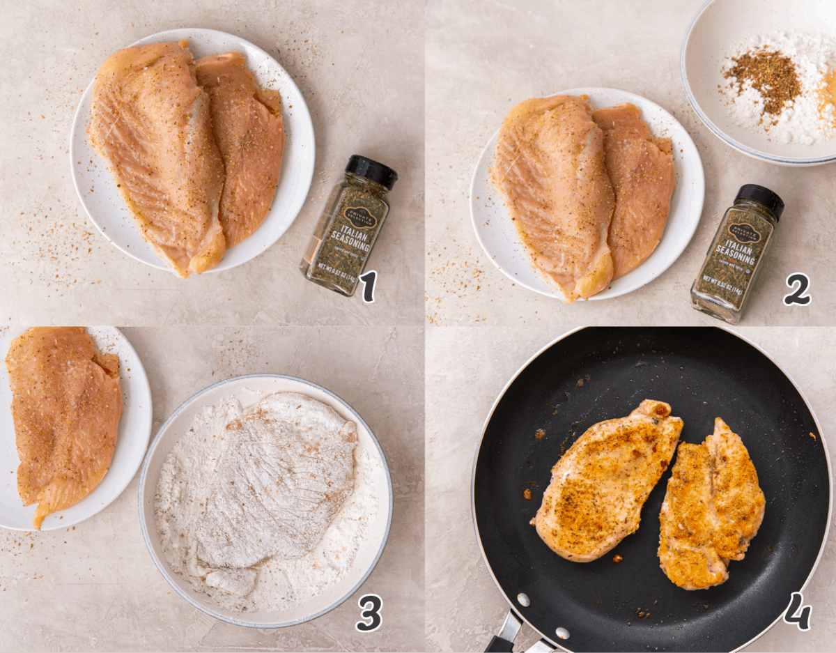 seasoning the chicken breast for an alfredo