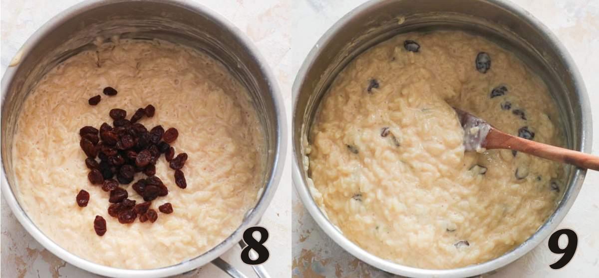 Adding the raisins