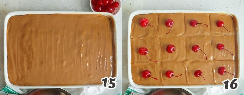 Topping the cake with Dulce de Leche
