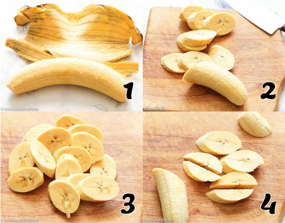 Peeling and Cutting Plantain