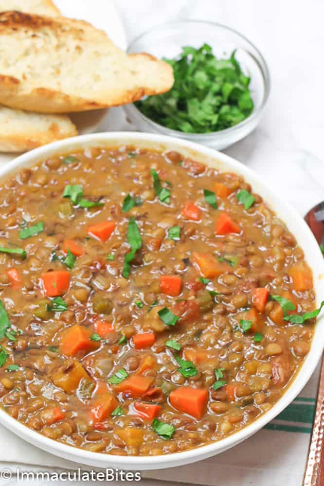 A Bowl of Lentil Soup Cooked in the Instant Pot