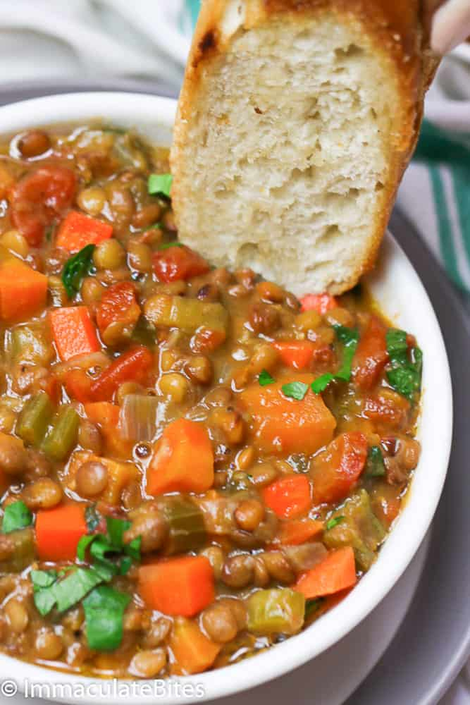 Lentil Soup with a Slice of Crusty Bread