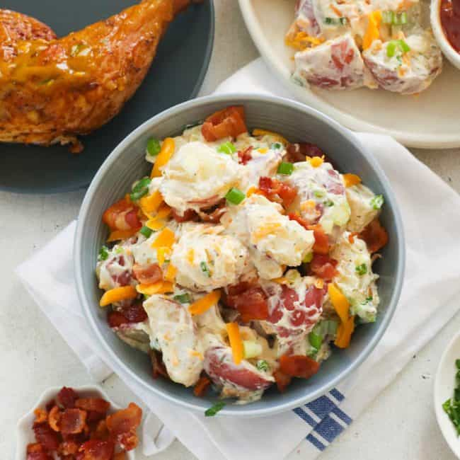 Ranch Potato Salad with chicken and bacon