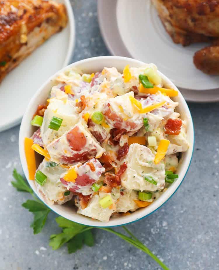potato salad on a small bowl