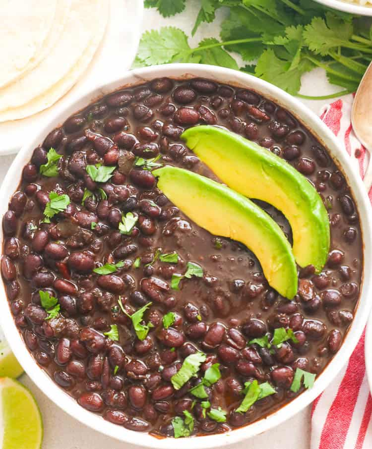Instant Pot Black Beans Topped with Avocado