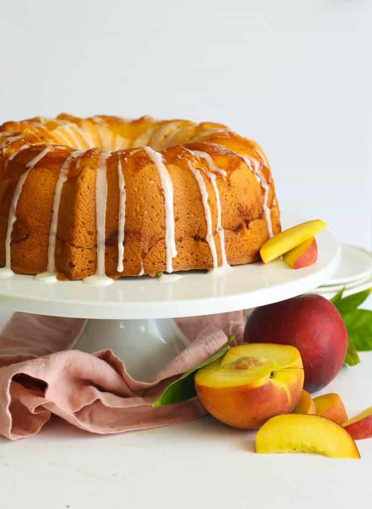Peach Cobbler Pound Cake on a Cake Stand