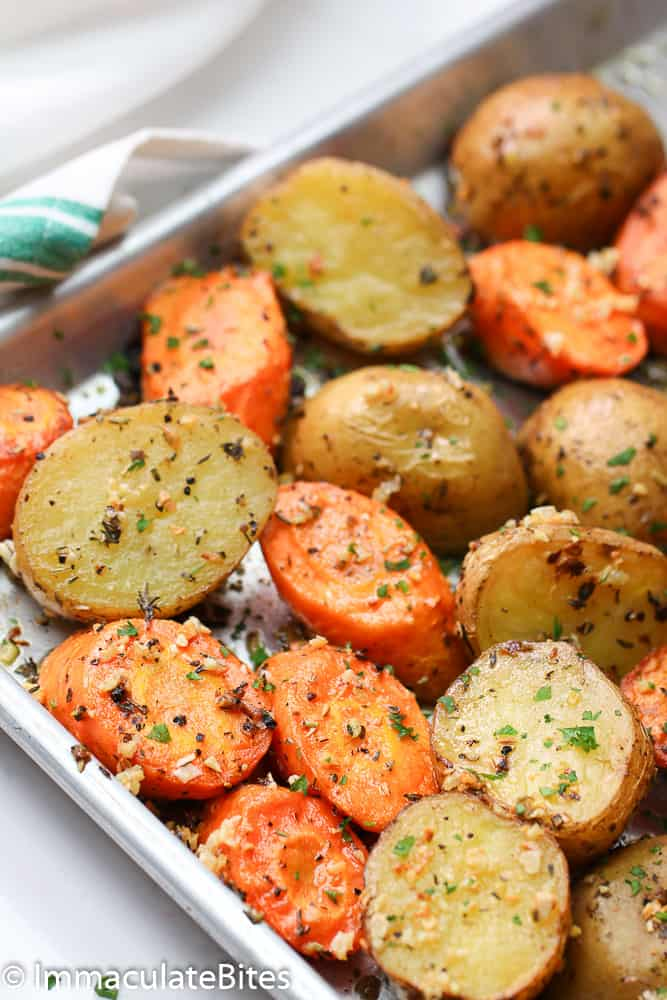 A pan of Roasted Potatoes and Carrots