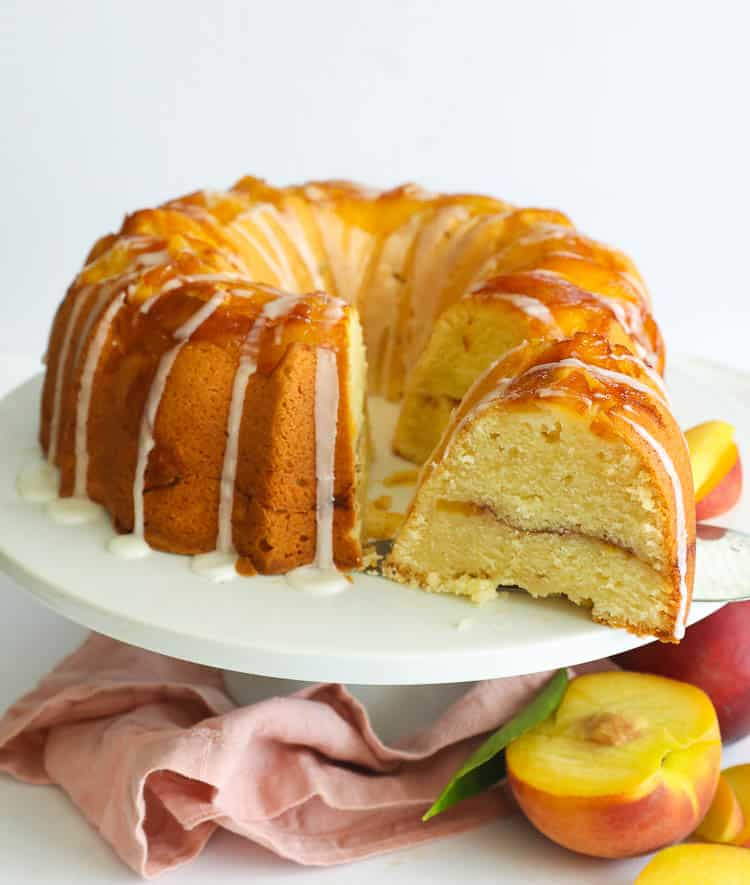 Pound Cake with slices real peaches