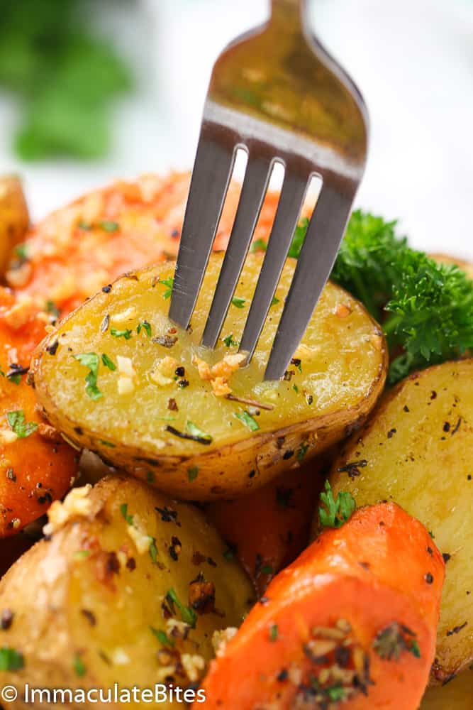 Roasted Potato and Carrots with veggies