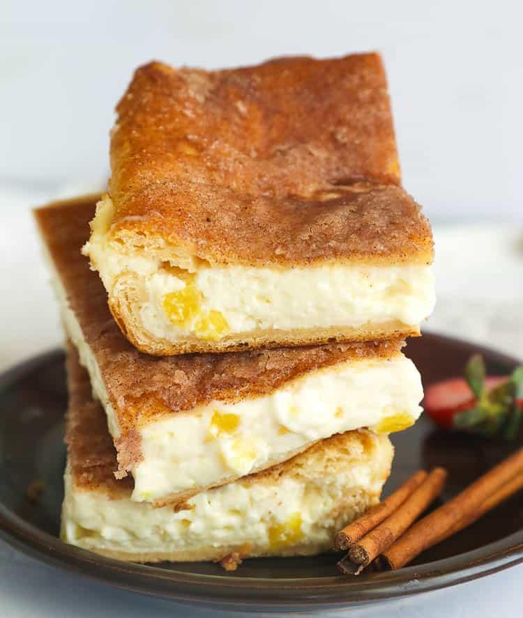 3 stacks of cheesecake bars