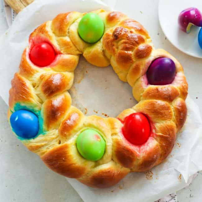 Braided Easter Bread Wreath