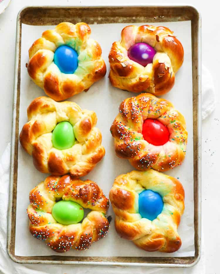 Individual Easter Bread in a Sheet Pan