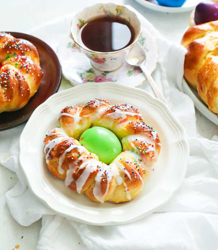 Individual Easter Bread with Sprinkles and Sugar Glaze
