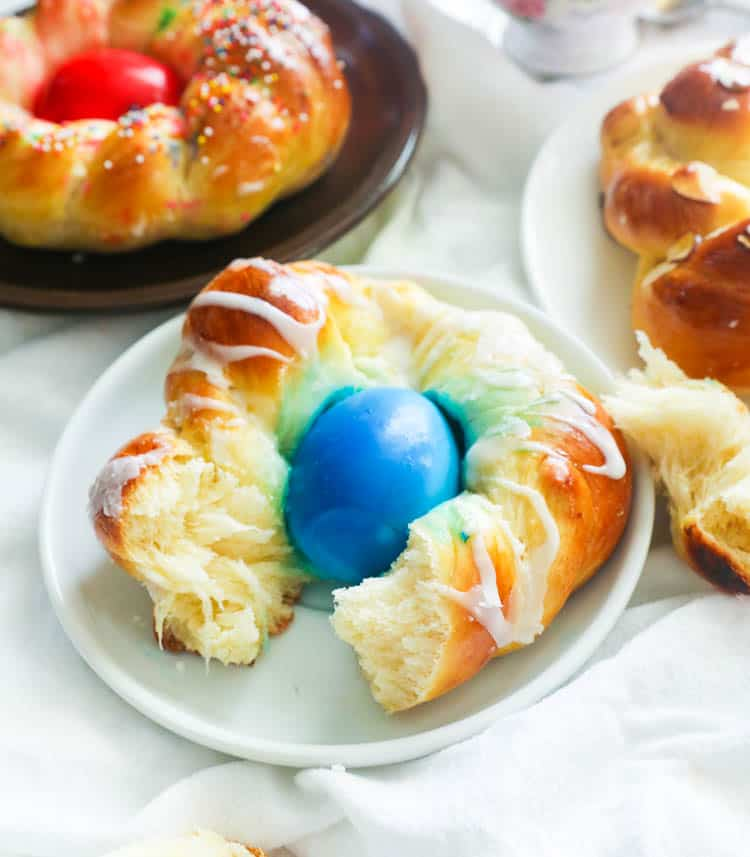 Ripped Apart Individual Easter Bread with Blue Dyed Egg in the Middle