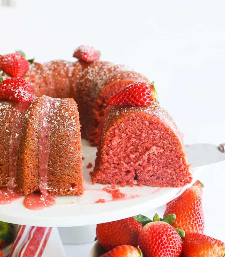 Strawberry Pound Cake Ready to Serve