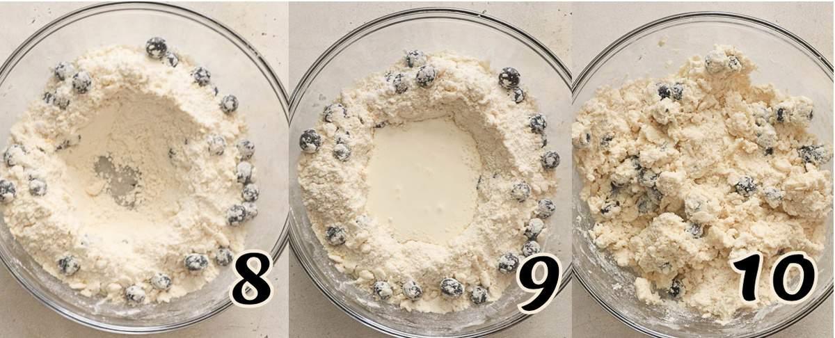 Adding cream and vanilla extract