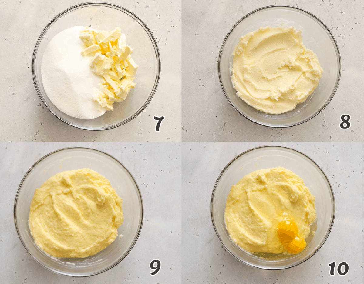 Making a pound cake batter