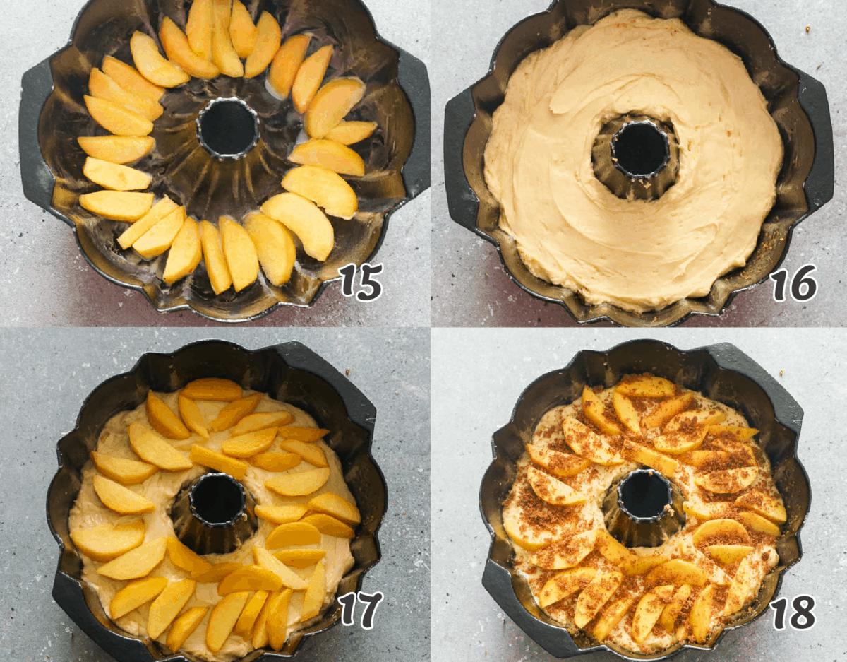 Assembling the cake in a bundt pan