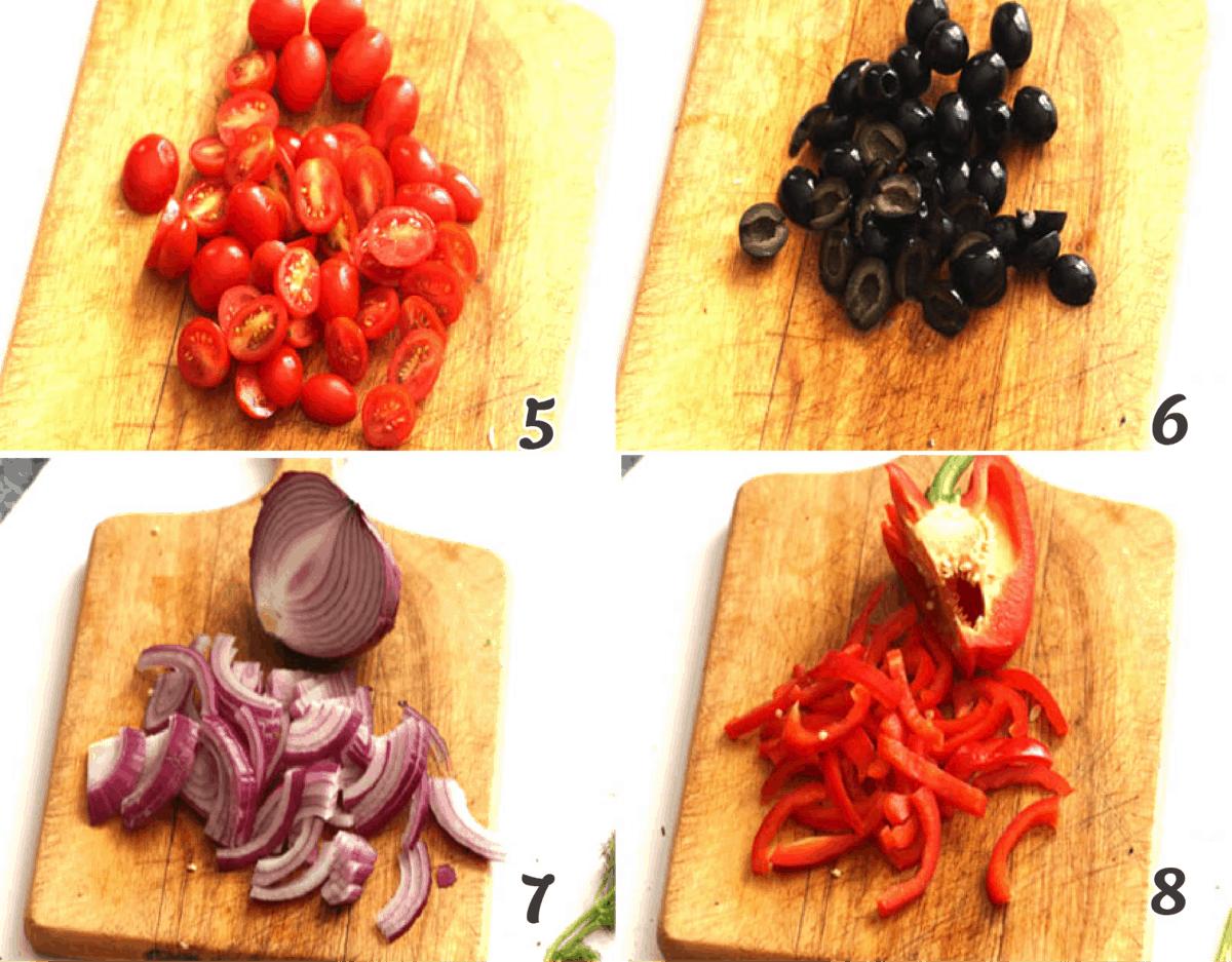 sliced veggies for salad