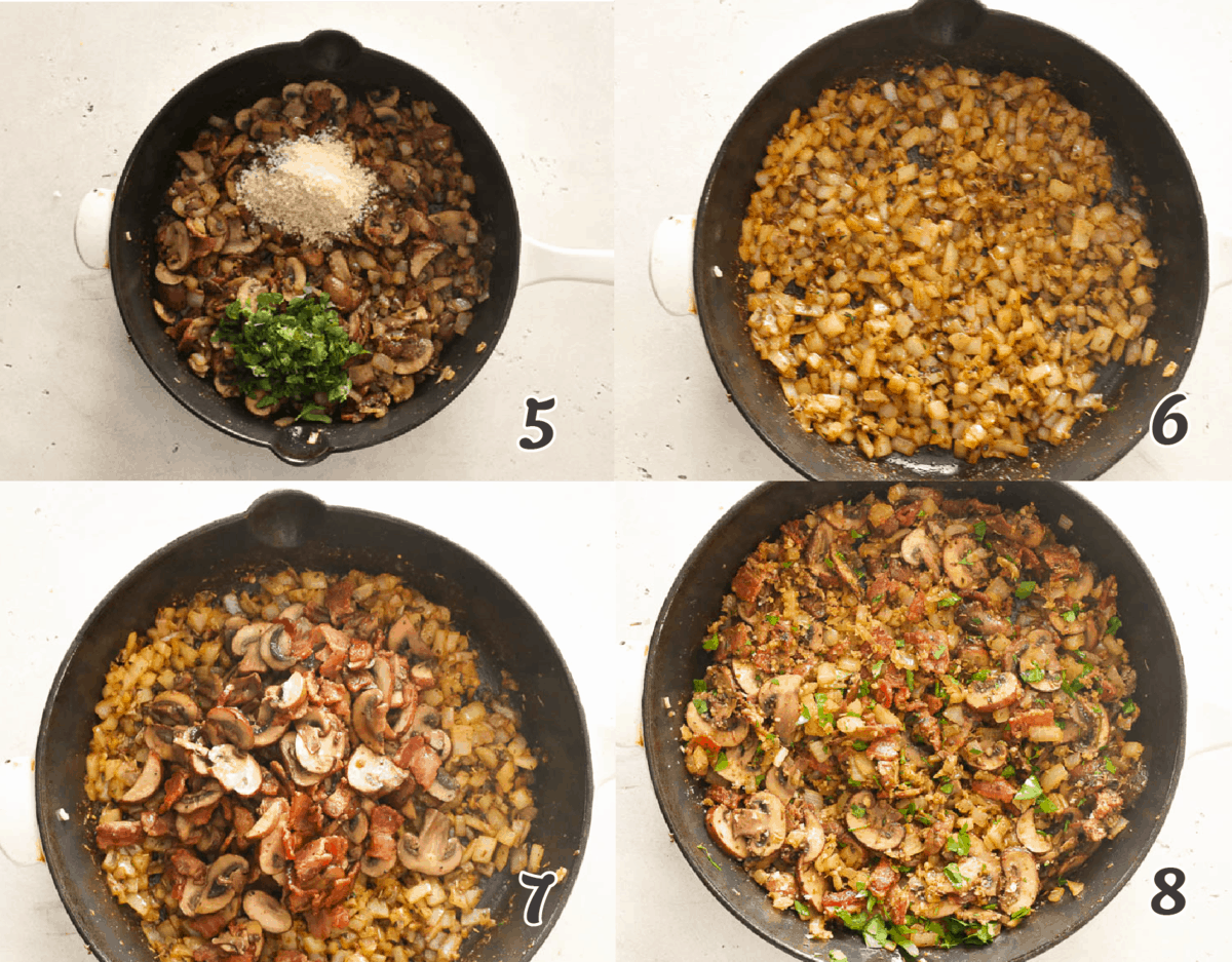 onions and mushroom and bacon stuffing