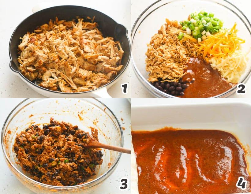 how to make chicken enchilada fillings