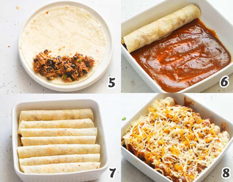 how to assemble chicken enchiladas