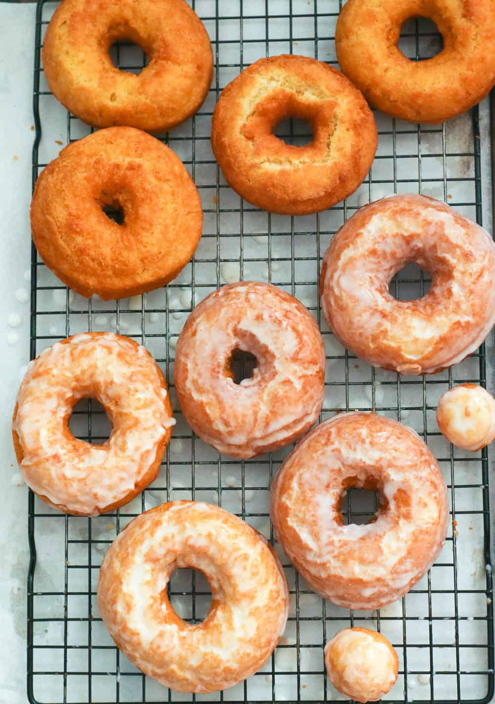 Old-fashioned doughnuts on a cooling rack