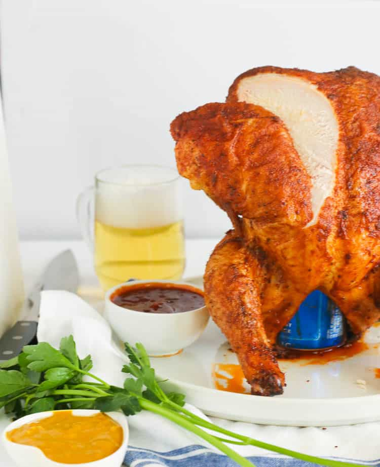 Sliced off Smoked Beer Can Chicken