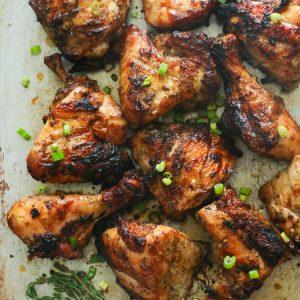 Jerk Chicken garnished with Thyme