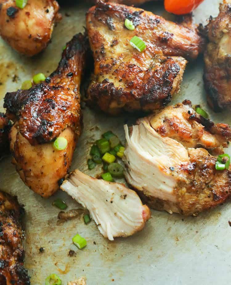 sliced grilled jerk chicken