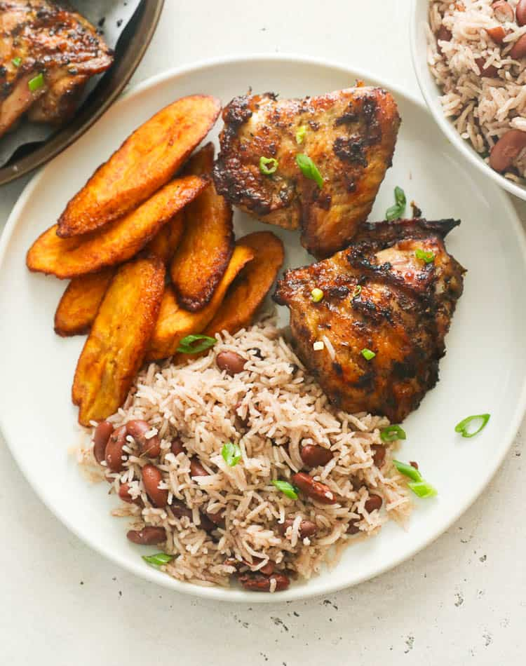 jamaican jerk chicken with rice and peas and fried plantains