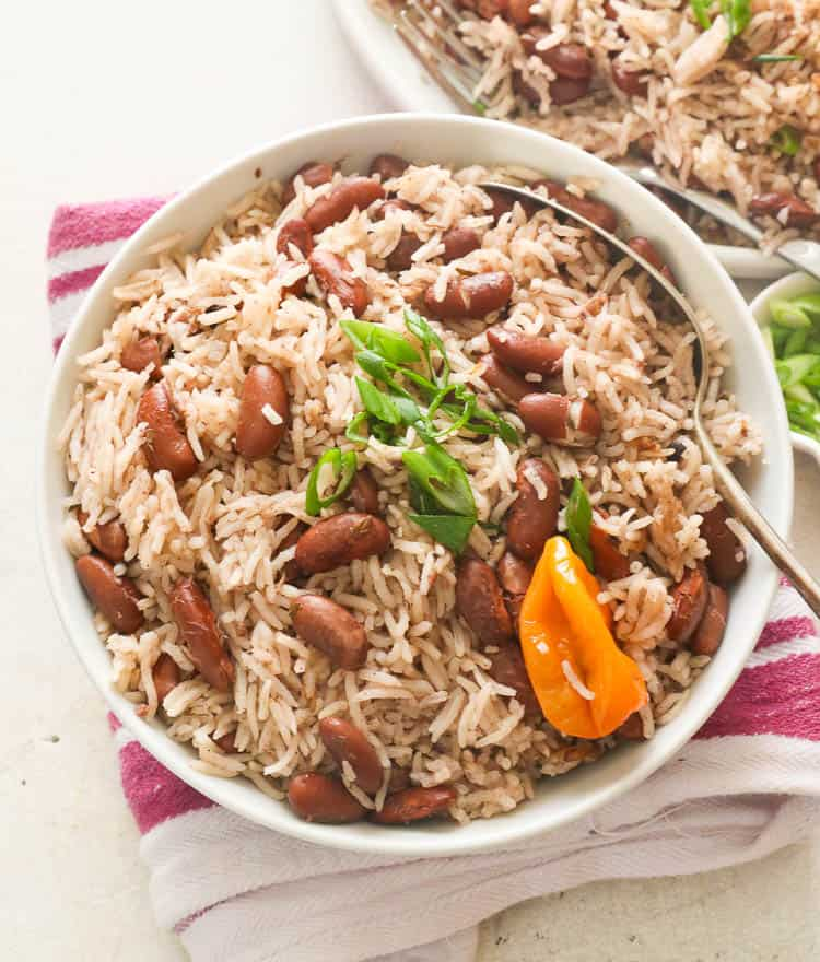 jamaican rice and peas on a white bowl