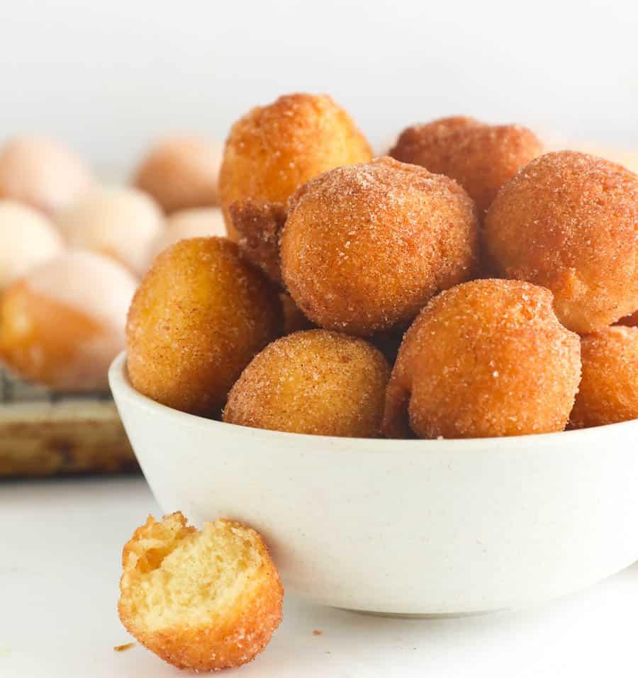 Fried donut holes rolled in cinnamon sugar