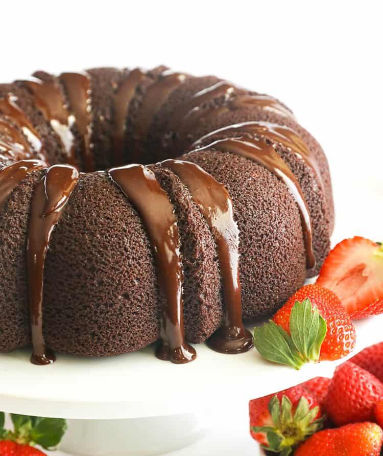 chocolate pound cake smothered with chocolate ganache