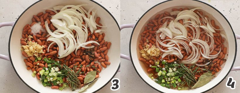 adding seasonings to the beans