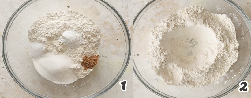 Combining dry ingredients of donut holes