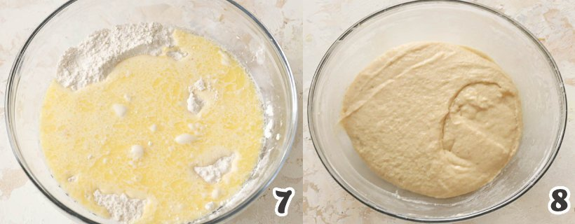 Combining dry and wet ingredients of fried donut holes
