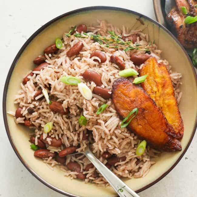 carribean rice and peans with fried plantains on the side