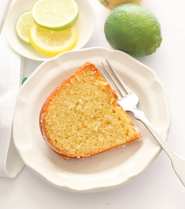 Slice 7UP Pound Cake on White Plate
