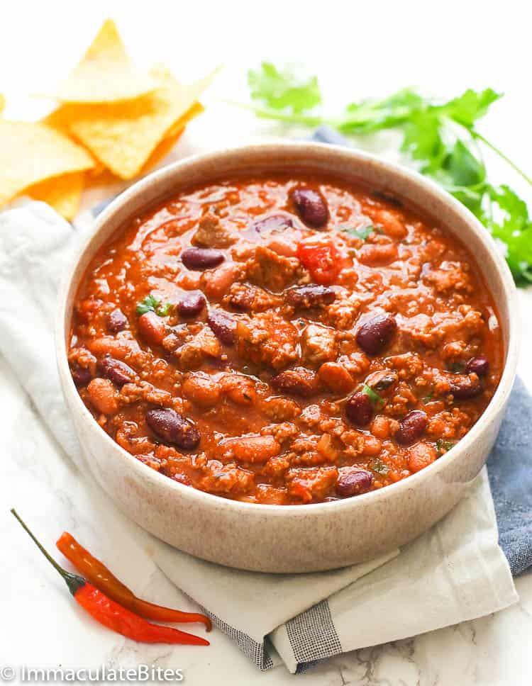 Chili in a white bowl