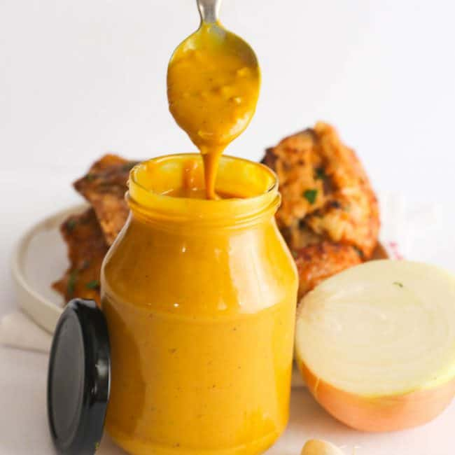 Mustard BBQ Sauce with spoon