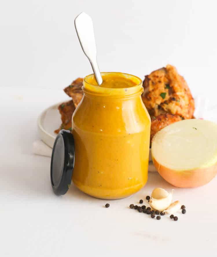 Mustard BBQ Sauce with Spoon in Jar