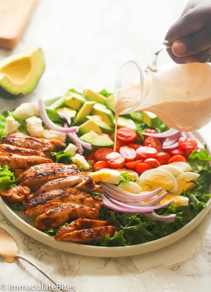Cajun Chicken Avocado Salad Drizzling Dressing