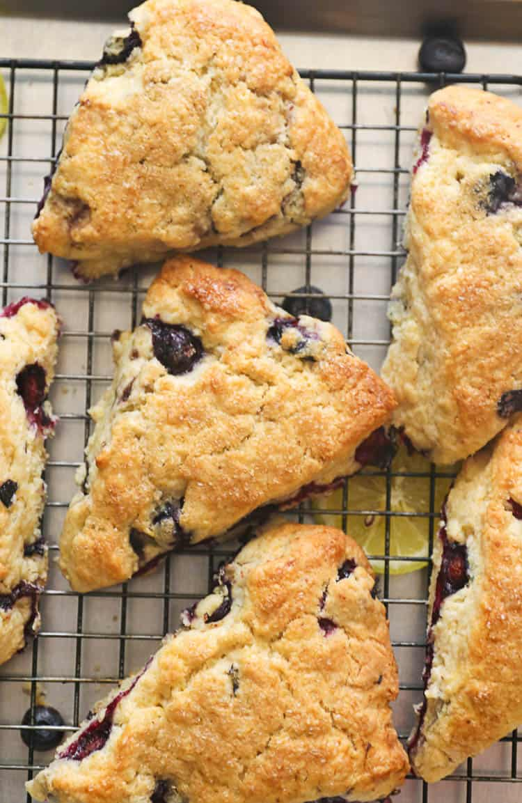 Lemon Blueberry Scones piled in a pan