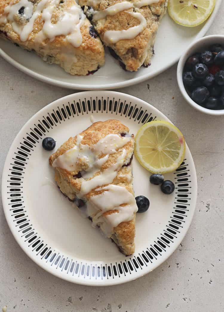 Lemon Blueberry Scones served with glaze