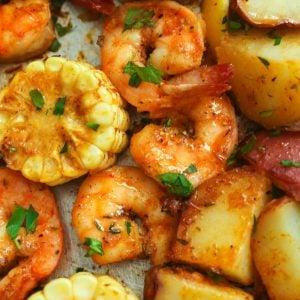 Cajun shrimp boil on a baking sheet