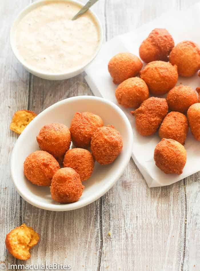 Hush puppies with white dip