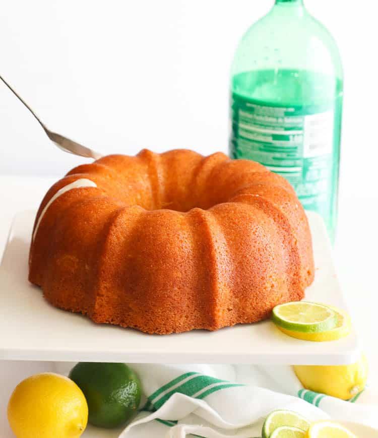 Pouring Glaze on 7UP Pound Cake